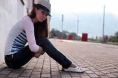 Girl outdoor road sad alone Stock Photos