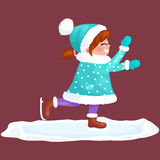 Girl outdoor skating ice isolated, fun winter holiday activity, merry christmas. And happy new year vector illustration Stock Photo