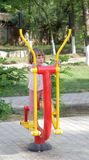 Girl on outdoor sport ground / gym Royalty Free Stock Images