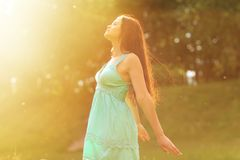 Girl Outdoors enjoying nature Royalty Free Stock Photography