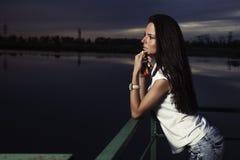 Girl outdoors at night Royalty Free Stock Image