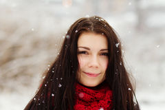 Girl outdoors in snowy winter day Royalty Free Stock Photography