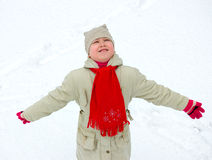 Girl Outdoors in Winter Royalty Free Stock Images