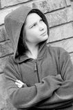 Girl outside. Girl in hooded jacket outside Royalty Free Stock Photography