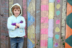 Girl Outside with Art Royalty Free Stock Images