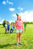 Girl outside with friends celebrate birthday Stock Photography