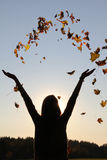 Girl with outstretched arms, throwing autumn leaves in the sky Royalty Free Stock Photography