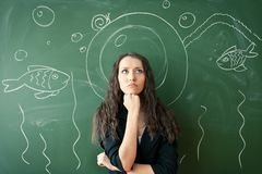 Girl over chalkboard with funny picture Royalty Free Stock Photos
