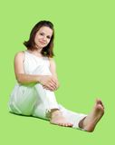 girl over green background Royalty Free Stock Photography