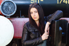 Girl over locomotive Royalty Free Stock Photo
