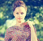 Girl over Nature Green Background Royalty Free Stock Image