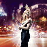Girl  over night city background Royalty Free Stock Images