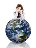 Girl over the planet earth Stock Photography