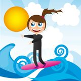 Girl over surfboard Royalty Free Stock Photography