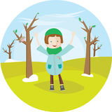 The girl in overcoat, costs in the spring park and enjoys raising his hands up. Cute illustration in circle. For banner, stickers. Design Stock Images