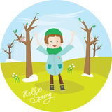 The girl in overcoat, costs in the spring park and enjoys raising his hands up. Cute illustration in circle. Hello spring. For banner, stickers, design Stock Images
