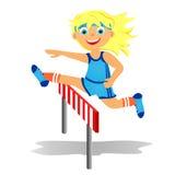 Girl overjumps hurdle. Childrens sport in summertime. Girl overjumps hurdle Royalty Free Stock Image