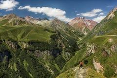 Girl overlooking mountains stock image