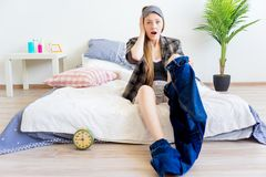 Girl is overslept. A portrait of an overslept girl in the morning Royalty Free Stock Images