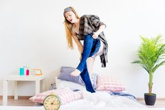 Girl is overslept. A portrait of an overslept girl in the morning Royalty Free Stock Photography