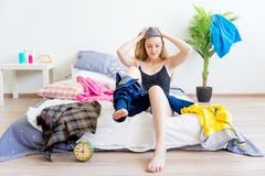 Girl is overslept. A portrait of an overslept girl in the morning Stock Photography