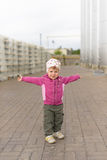 Girl with Overspread Hands Royalty Free Stock Photography