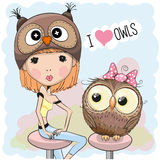 Girl and owl Royalty Free Stock Photos