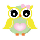 Girl Owl with Pink Ribbon and Star Necklace Vector Royalty Free Stock Photography