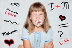 Girl with a pacifier Royalty Free Stock Images