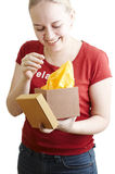 Girl with package Stock Images