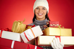 Girl with packages Royalty Free Stock Images