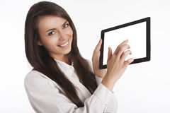 Girl with pad Stock Photos