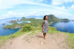 Girl on Padar Island Royalty Free Stock Images