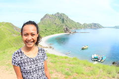 Girl on Padar Island royalty free stock images