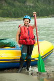 Girl with paddle royalty free stock photo