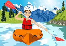 Girl with paddle and kayak on a small river Royalty Free Stock Photography