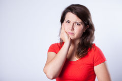 Girl with pain Stock Image