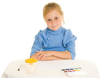 Girl with paint. Royalty Free Stock Images