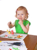 Girl with paint Royalty Free Stock Images