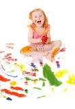 Girl in paint Royalty Free Stock Photos