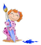 Girl with paint brush-watercolor Royalty Free Stock Images