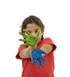 Girl with paint on hands Royalty Free Stock Image
