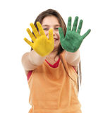 Girl with paint on hands Stock Photography