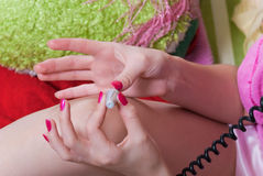 Girl paint nails Royalty Free Stock Images