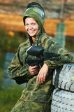 Girl paintball player Stock Photos
