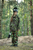 Girl paintball player Stock Images