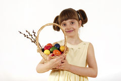 Girl with painted eggs Royalty Free Stock Photo