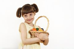 Girl with painted eggs Royalty Free Stock Photography