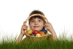 Girl with painted eggs Royalty Free Stock Photos
