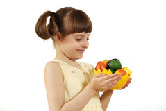 Girl with painted eggs Stock Photos